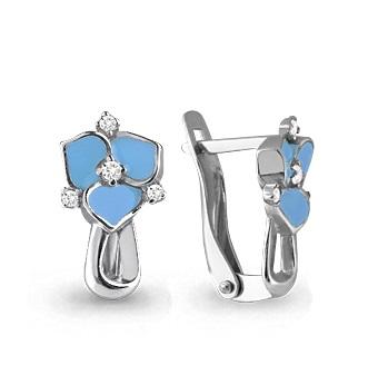 Детские сережки голубые цветы