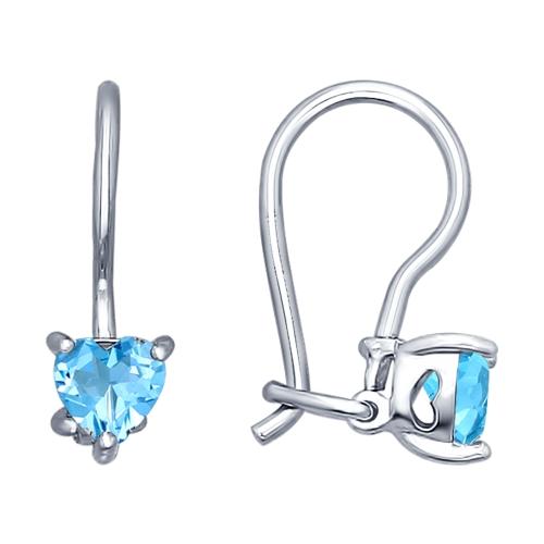 Детские сережки с голубыми камнями