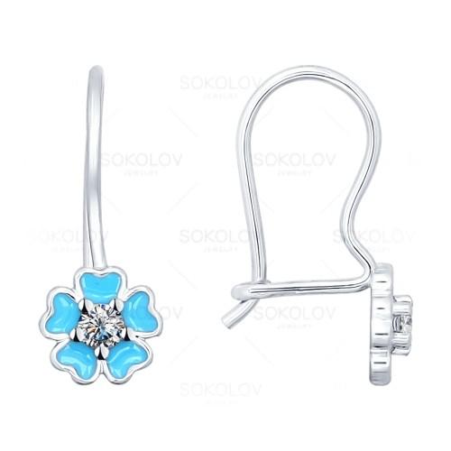 Детские сережки голубой цветок