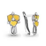 Детские сережки желтый цветок