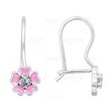 Детские сережки с розовыми цветочками