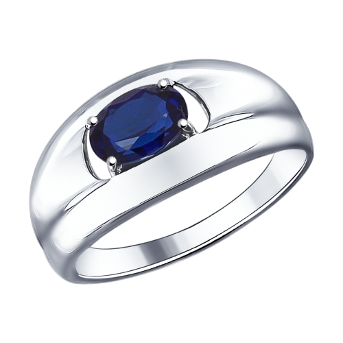 Кольцо с искусственно выращенным сапфиром