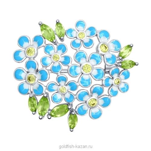Серебряная брошь-букет цветов