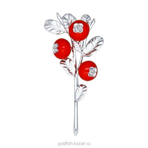 Серебряная брошь-веточка ягод