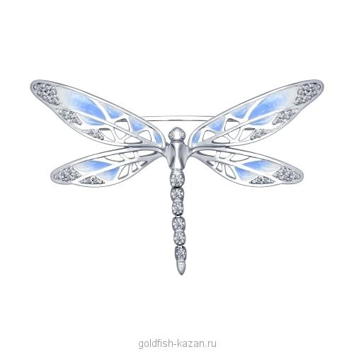 Серебряная брошь-стрекоза