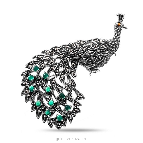 Серебряная брошь жар-птица