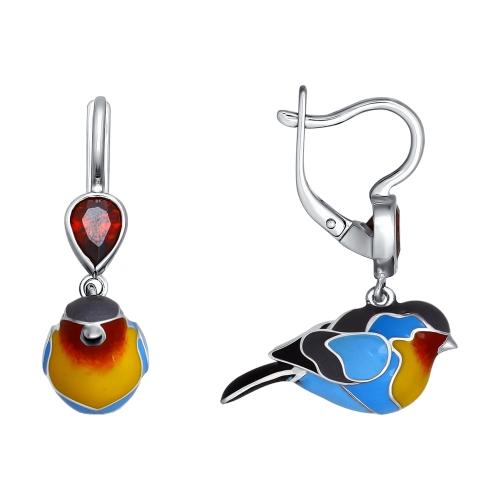 Серебряные серьги птички-малиновки