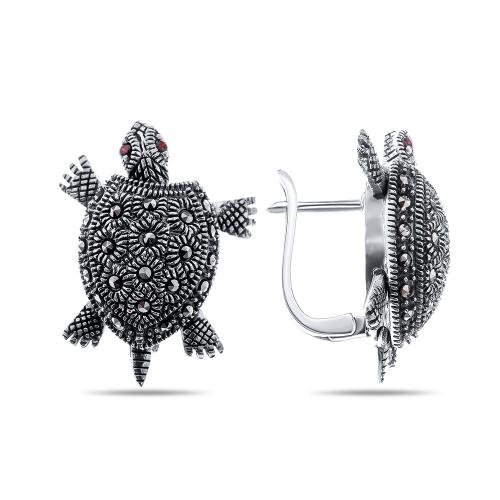 Серебряные серьги капельное серебро - марказиты