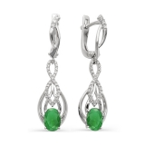 Серебряные серьги с зеленым агатом