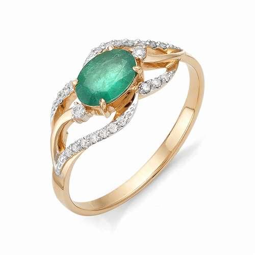 Золотое кольцо с изумрудом и бриллиантами