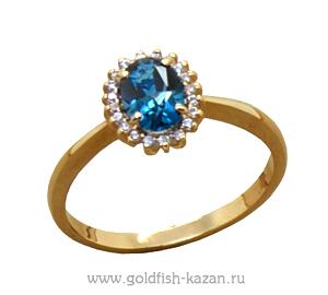 Золотое кольцо с лондон-топазом