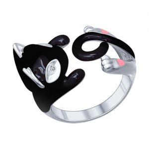 Серебряное кольцо черная кошка