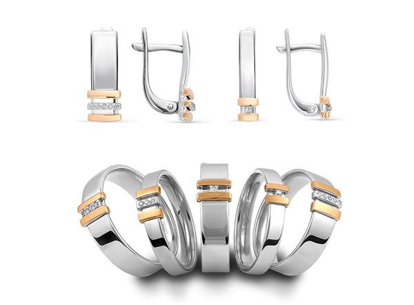 Серебряные кольца и серьги с бриллиантами