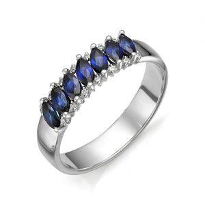 Серебряное кольцо с гидротермальными сапфирами
