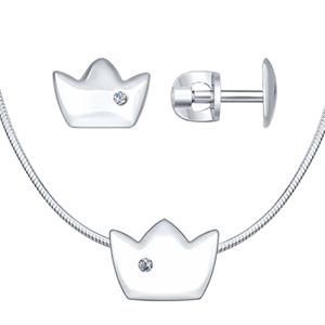 Серебряное колье и серьги Корона