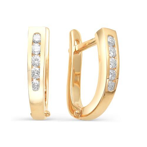 Золотые серьги дорожки с бриллиантами