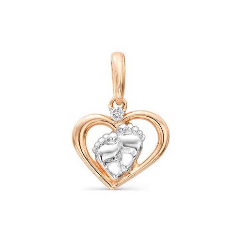 Золотая подвеска-пяточка с бриллиантом
